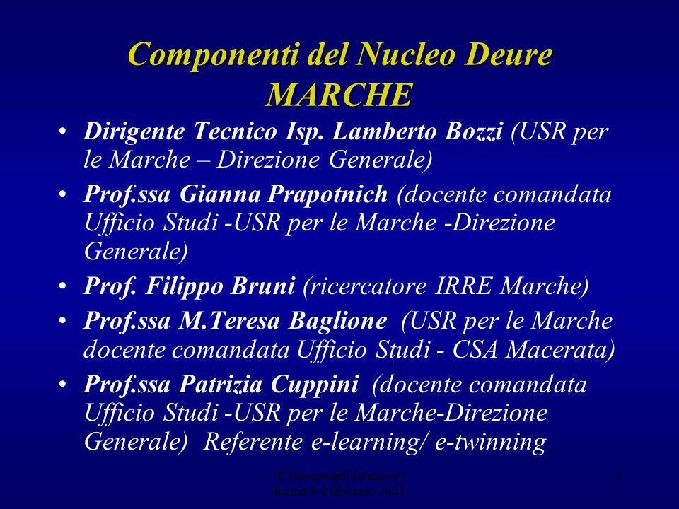 Gianna Prapotnich (Ufficio Studi-Area Europa) per il Nucleo dintervento regionale Europa dellIstruzione USR per le Marche-Direzione Generale Dott.