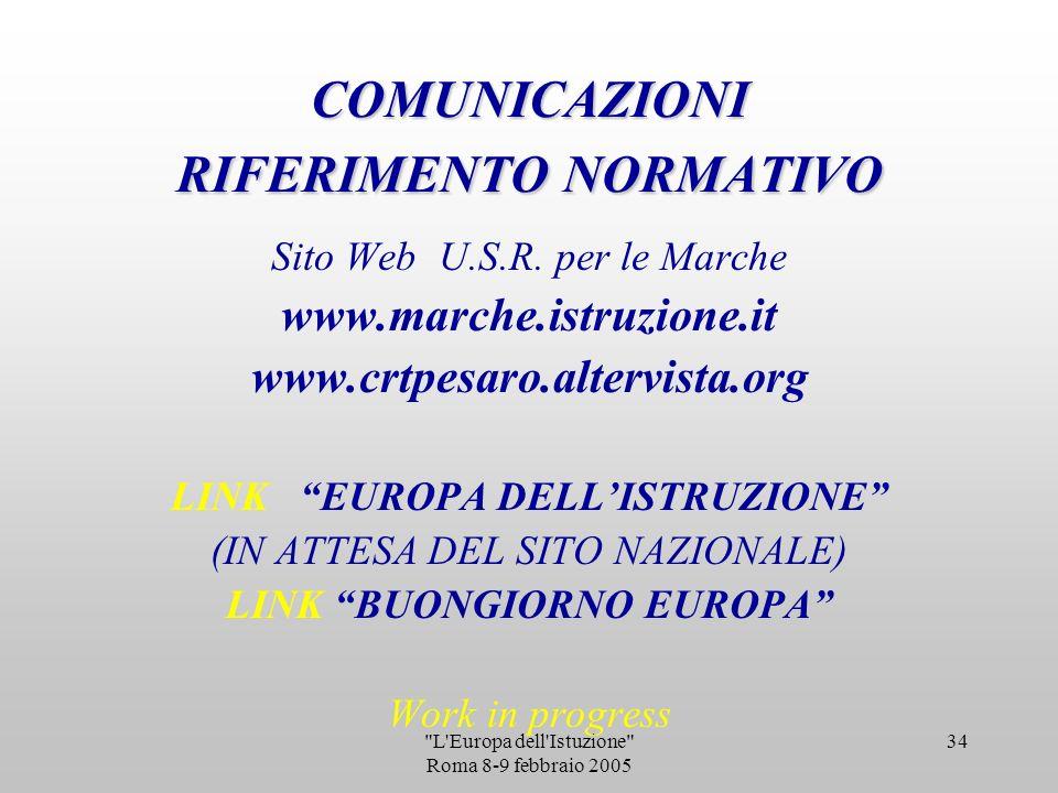 L Europa dell Istuzione Roma 8-9 febbraio 2005 33 ESERCIZI DI INTERISTITUZIONALITA TAVOLI REGIONALI PER AREE TEMATICHE RETI TERRITORIALI IRRE MARCHE /USR /REGIONE MARCHE: PUBBLICAZIONE 2005 AZ.OSSERVAZIONE/INNOVAZIONE :VISITE ARION ACCORDI-CONVENZIONI-CONSORZI CON ENTI LOCALI COINVOLGIMENTO CENTRI LINGUISTICI DI ATENEO DELLE UNIVERSITA