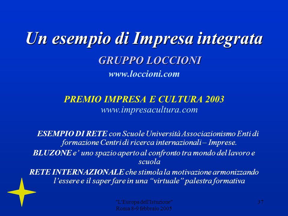 L Europa dell Istuzione Roma 8-9 febbraio 2005 36 Ampia riflessione e diverse iniziative vengono dedicate alla cultura del lavoro.Ampia riflessione e diverse iniziative vengono dedicate alla cultura del lavoro.