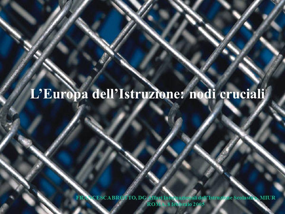 LEuropa dellIstruzione: nodi cruciali FRANCESCA BROTTO, DG Affari Internazionali dellIstruzione Scolastica, MIUR ROMA, 8 febbraio 2005