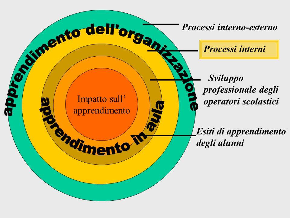 Impatto sull apprendimento Processi interno- esterno Processi interni Sviluppo professionale degli operatori scolastici Esiti di apprendimento degli alunni