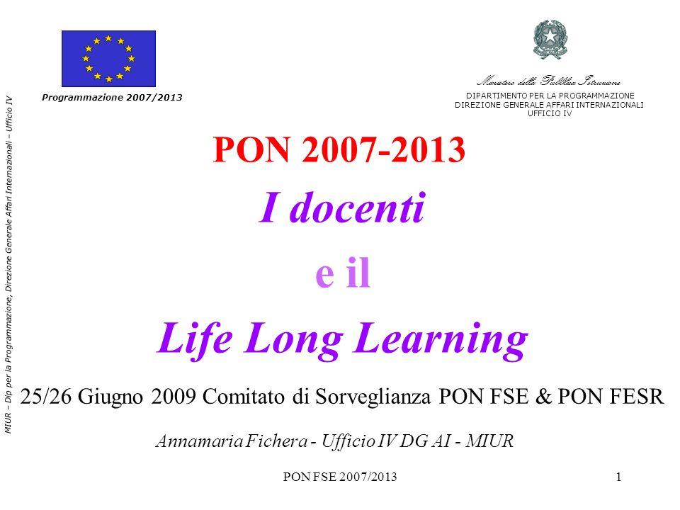 PON FSE 2007/20131 PON 2007-2013 I docenti e il Life Long Learning Programmazione 2007/2013 MIUR – Dip per la Programmazione, Direzione Generale Affar