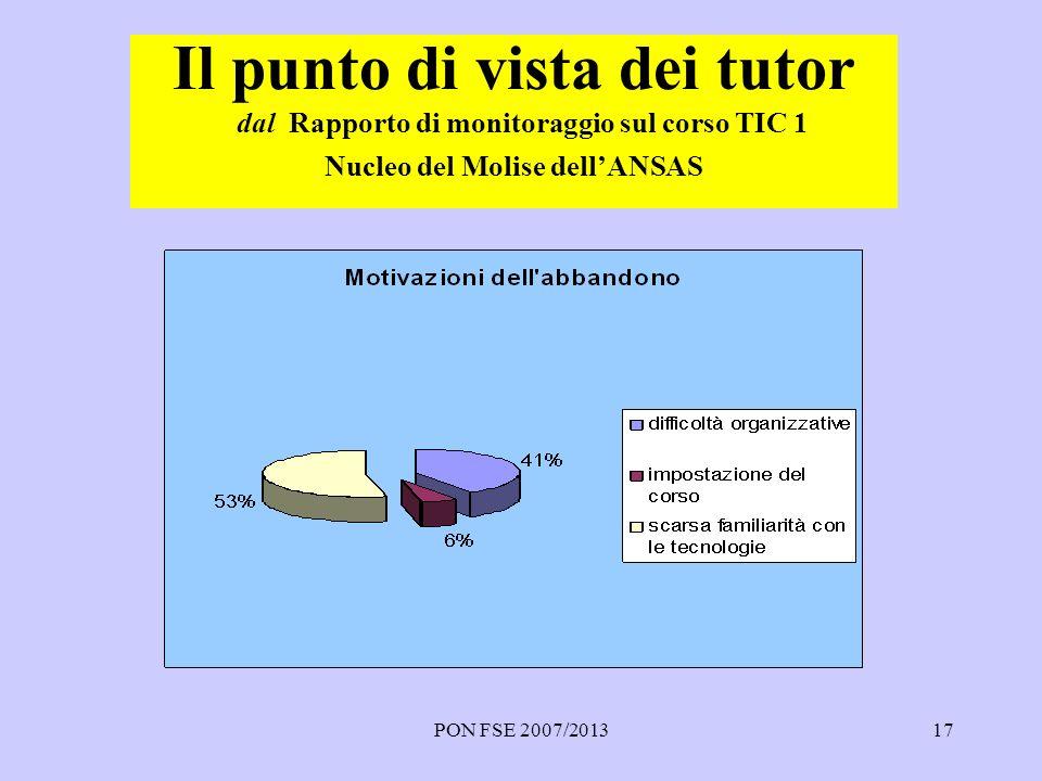 PON FSE 2007/201317 Il punto di vista dei tutor dal Rapporto di monitoraggio sul corso TIC 1 Nucleo del Molise dellANSAS