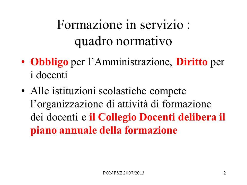 PON FSE 2007/20132 Formazione in servizio : quadro normativo Obbligo per lAmministrazione, Diritto per i docenti Alle istituzioni scolastiche compete