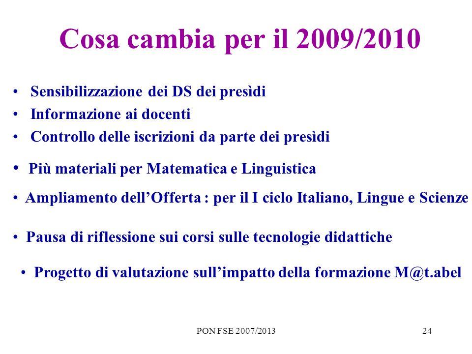 PON FSE 2007/201324 Cosa cambia per il 2009/2010 Sensibilizzazione dei DS dei presìdi Informazione ai docenti Controllo delle iscrizioni da parte dei