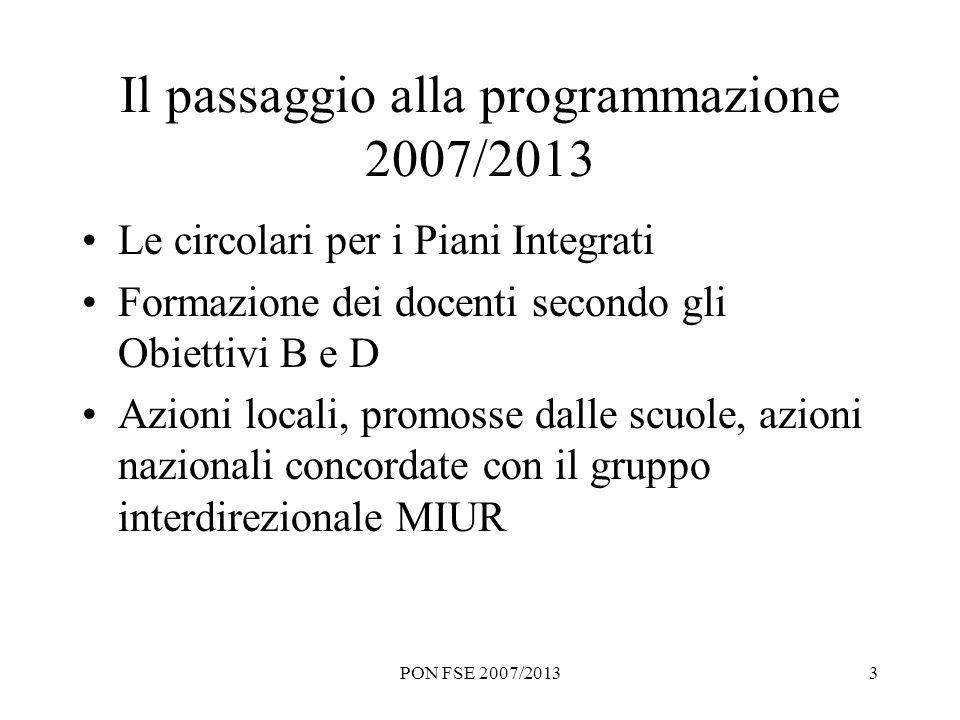PON FSE 2007/20133 Il passaggio alla programmazione 2007/2013 Le circolari per i Piani Integrati Formazione dei docenti secondo gli Obiettivi B e D Az