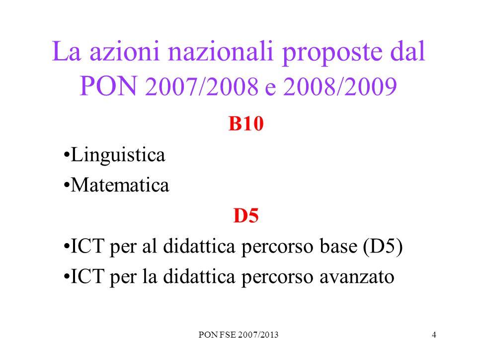 PON FSE 2007/20134 La azioni nazionali proposte dal PON 2007/2008 e 2008/2009 B10 Linguistica Matematica D5 ICT per al didattica percorso base (D5) IC