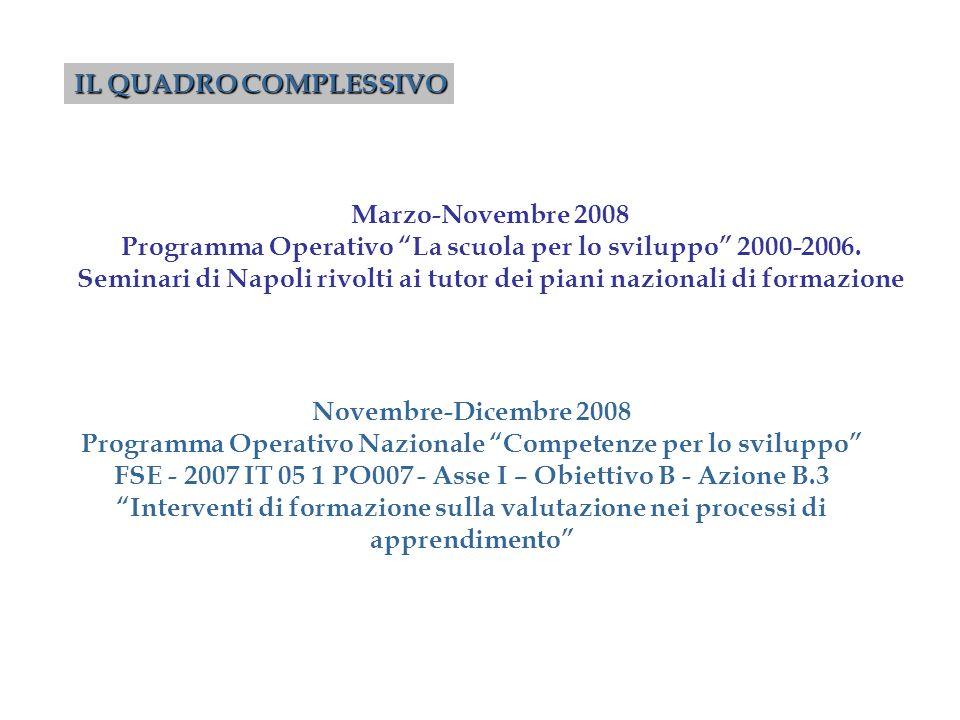Novembre-Dicembre 2008 Programma Operativo Nazionale Competenze per lo sviluppo FSE - 2007 IT 05 1 PO007 - Asse I – Obiettivo B - Azione B.3 Intervent