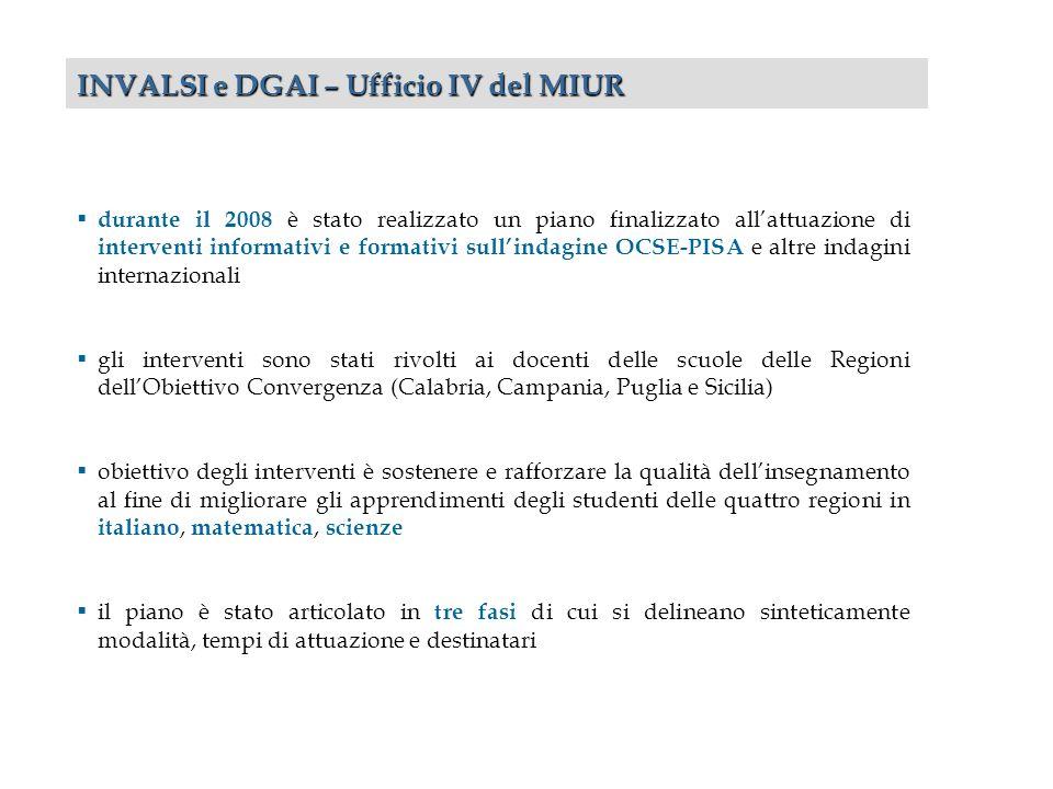 durante il 2008 è stato realizzato un piano finalizzato allattuazione di interventi informativi e formativi sullindagine OCSE-PISA e altre indagini in