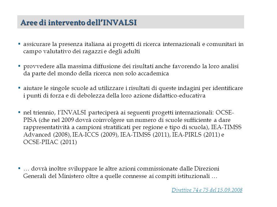assicurare la presenza italiana ai progetti di ricerca internazionali e comunitari in campo valutativo dei ragazzi e degli adulti provvedere alla mass