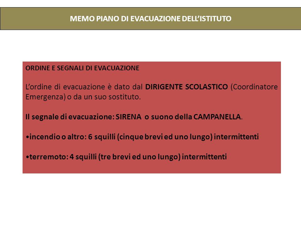 MEMO PIANO DI EVACUAZIONE DELLISTITUTO ORDINE E SEGNALI DI EVACUAZIONE Lordine di evacuazione è dato dal DIRIGENTE SCOLASTICO (Coordinatore Emergenza) o da un suo sostituto.