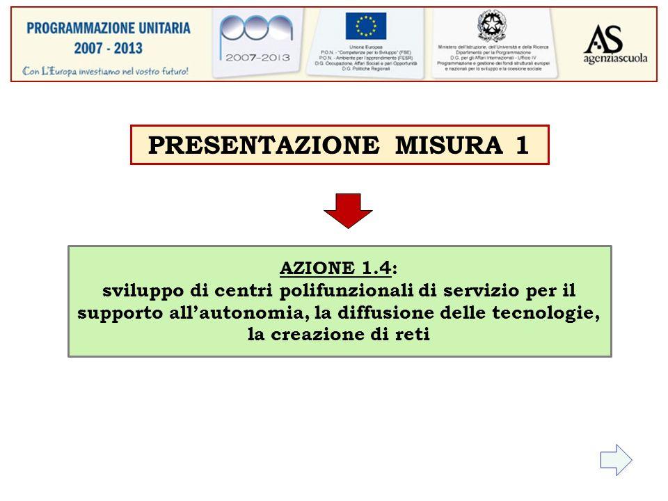AZIONE 1.4: sviluppo di centri polifunzionali di servizio per il supporto allautonomia, la diffusione delle tecnologie, la creazione di reti PRESENTAZIONE MISURA 1