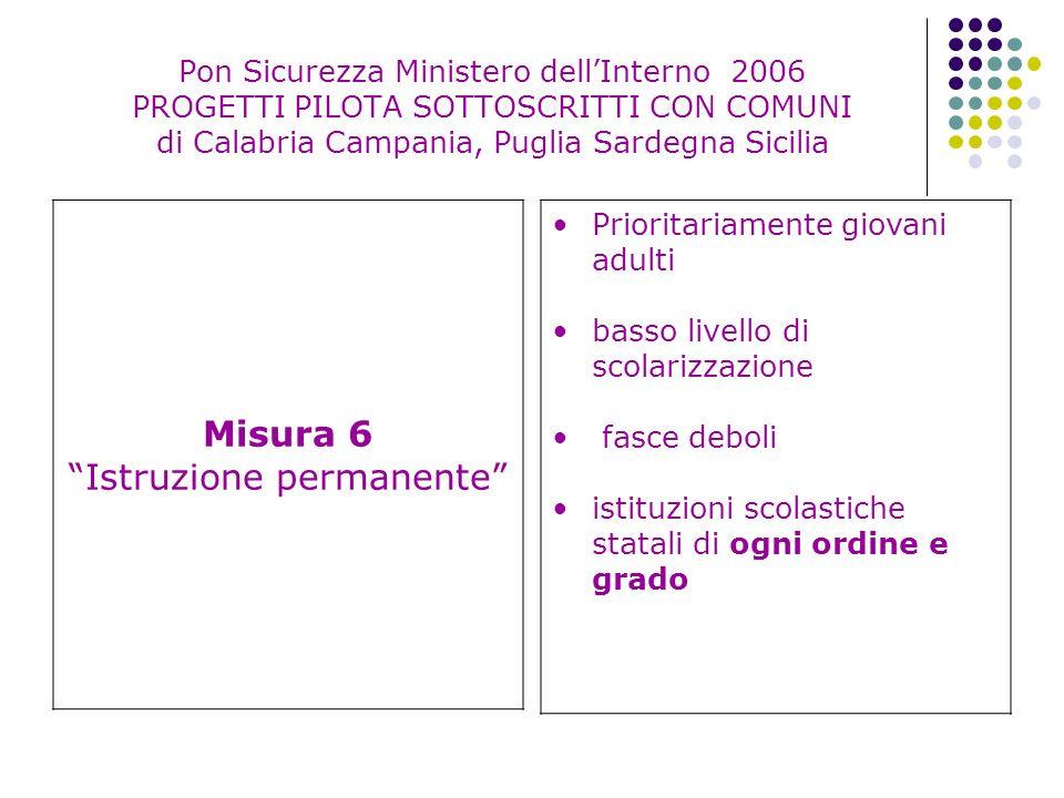 Pon Sicurezza Ministero dellInterno 2006 PROGETTI PILOTA SOTTOSCRITTI CON COMUNI di Calabria Campania, Puglia Sardegna Sicilia Misura 6 Istruzione per