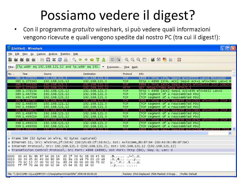 Possiamo vedere il digest? Con il programma gratuito wireshark, si può vedere quali informazioni vengono ricevute e quali vengono spedite dal nostro P