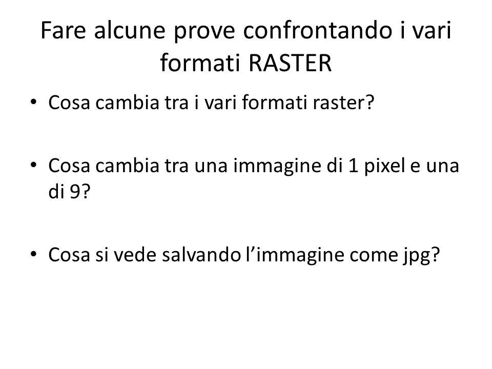 Fare alcune prove confrontando i vari formati RASTER Cosa cambia tra i vari formati raster? Cosa cambia tra una immagine di 1 pixel e una di 9? Cosa s