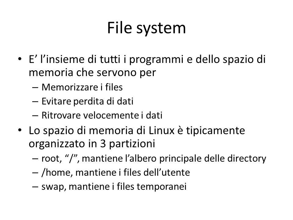 File system E linsieme di tutti i programmi e dello spazio di memoria che servono per – Memorizzare i files – Evitare perdita di dati – Ritrovare velo