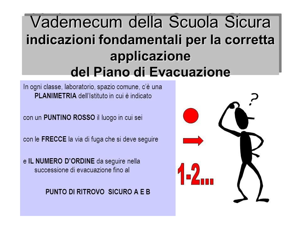 Vademecum della Scuola Sicura indicazioni fondamentali per la corretta applicazione del Piano di Evacuazione In ogni classe, laboratorio, spazio comun