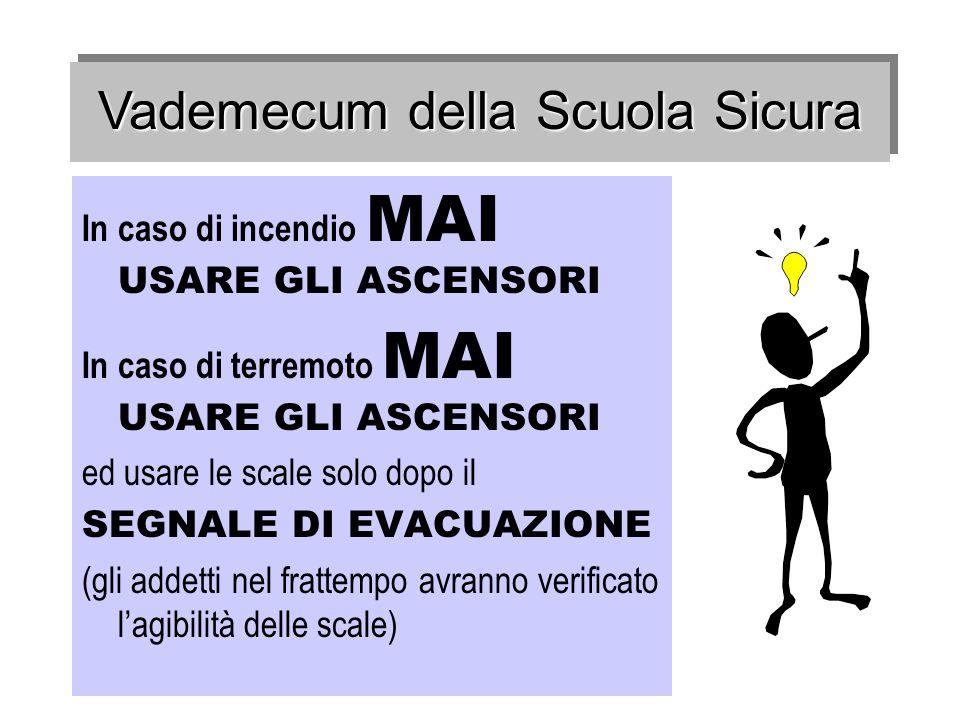 In caso di incendio MAI USARE GLI ASCENSORI In caso di terremoto MAI USARE GLI ASCENSORI ed usare le scale solo dopo il SEGNALE DI EVACUAZIONE (gli ad