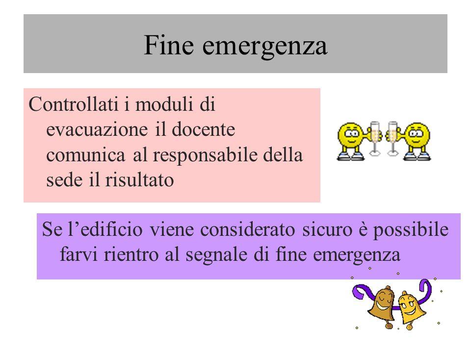 Fine emergenza Controllati i moduli di evacuazione il docente comunica al responsabile della sede il risultato Se ledificio viene considerato sicuro è