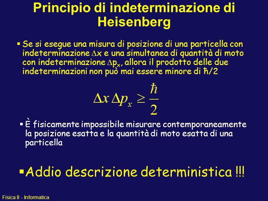 Fisica II - Informatica Conseguenze della teoria quantistica: Energia-Momento del Fotone + Dualismo Onda-Particella Principio di Indeterminazione di H