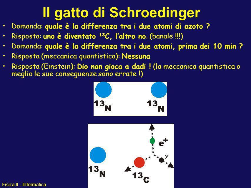Fisica II - Informatica Il gatto di Schroedinger Alcuni elementi sono instabili e decadono (si trasformano) in altri dopo un certo tempo Queste sostan
