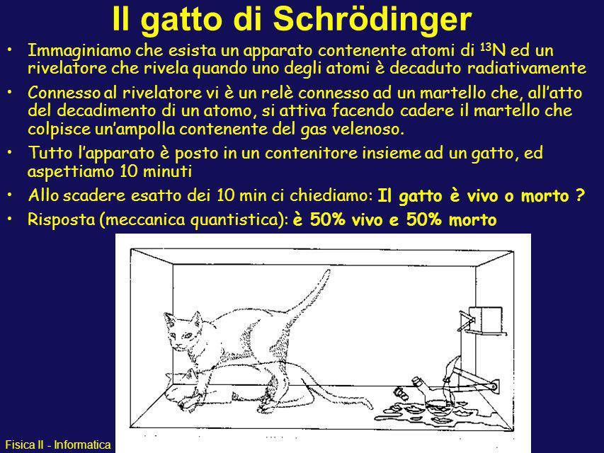 Fisica II - Informatica Il gatto di Schroedinger Domanda: quale è la differenza tra i due atomi di azoto ? Risposta: uno è diventato 13 C, laltro no.