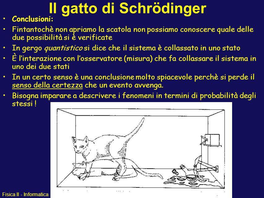 Fisica II - Informatica Il gatto di Schrödinger Immaginiamo che esista un apparato contenente atomi di 13 N ed un rivelatore che rivela quando uno deg