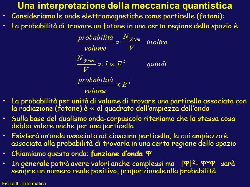 Fisica II - Informatica Il gatto di Schrödinger Conclusioni: Fintantochè non apriamo la scatola non possiamo conoscere quale delle due possibilità si