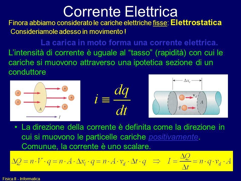 Fisica II - Informatica Corrente Elettrica La carica in moto forma una corrente elettrica. Lintensità di corrente è uguale al tasso (rapidità) con cui