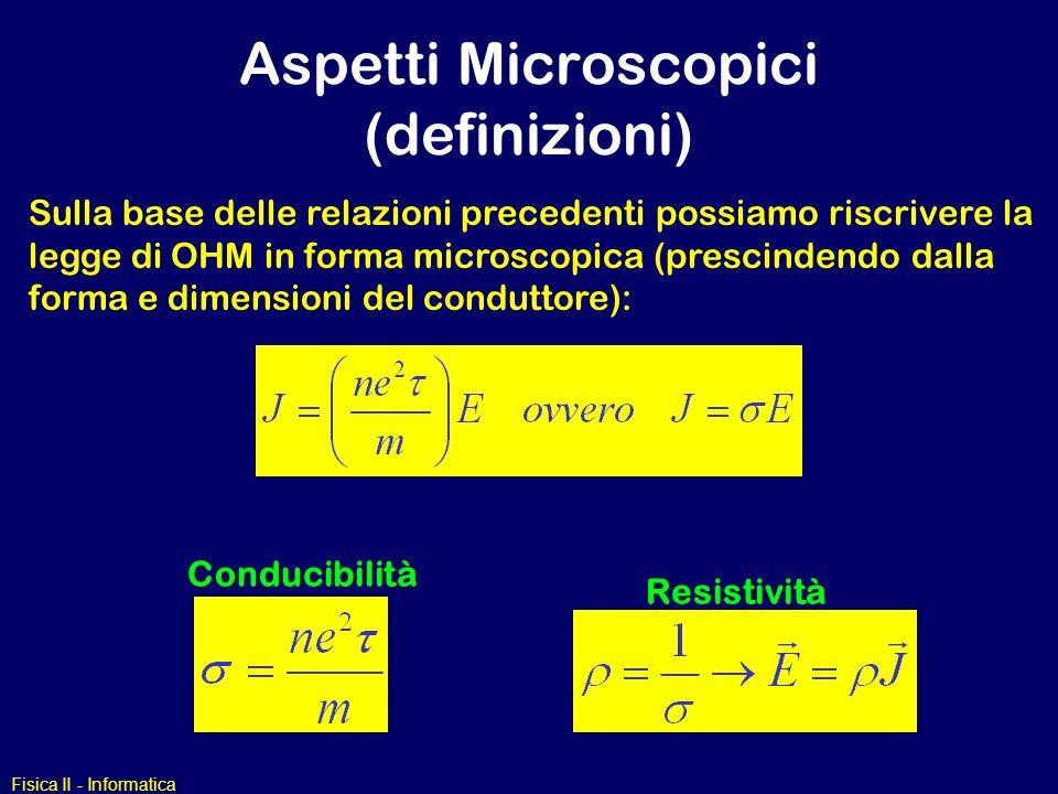 Fisica II - Informatica Aspetti Microscopici (definizioni) Resistività Conducibilità Sulla base delle relazioni precedenti possiamo riscrivere la legg