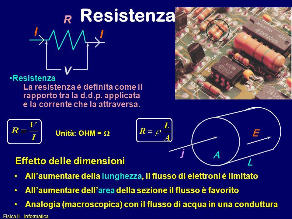 Fisica II - Informatica Resistenza La resistenza è definita come il rapporto tra la d.d.p. applicata e la corrente che la attraversa. V I I R Unità: O