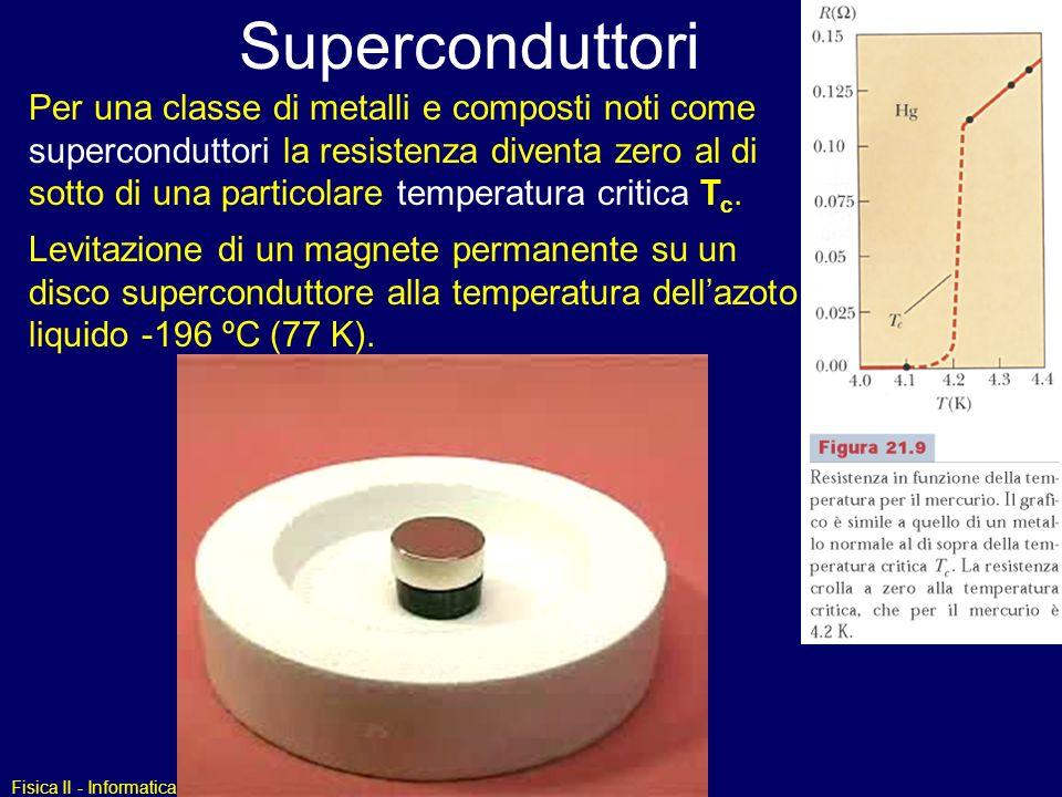 Fisica II - Informatica Superconduttori Per una classe di metalli e composti noti come superconduttori la resistenza diventa zero al di sotto di una p