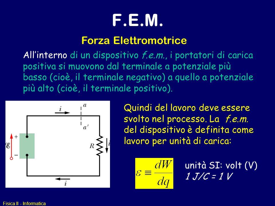Fisica II - Informatica F.E.M. Forza Elettromotrice Allinterno di un dispositivo f.e.m., i portatori di carica positiva si muovono dal terminale a pot