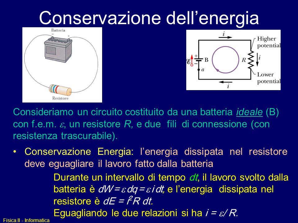 Fisica II - Informatica Conservazione dellenergia Consideriamo un circuito costituito da una batteria ideale (B) con f.e.m., un resistore R, e due fil