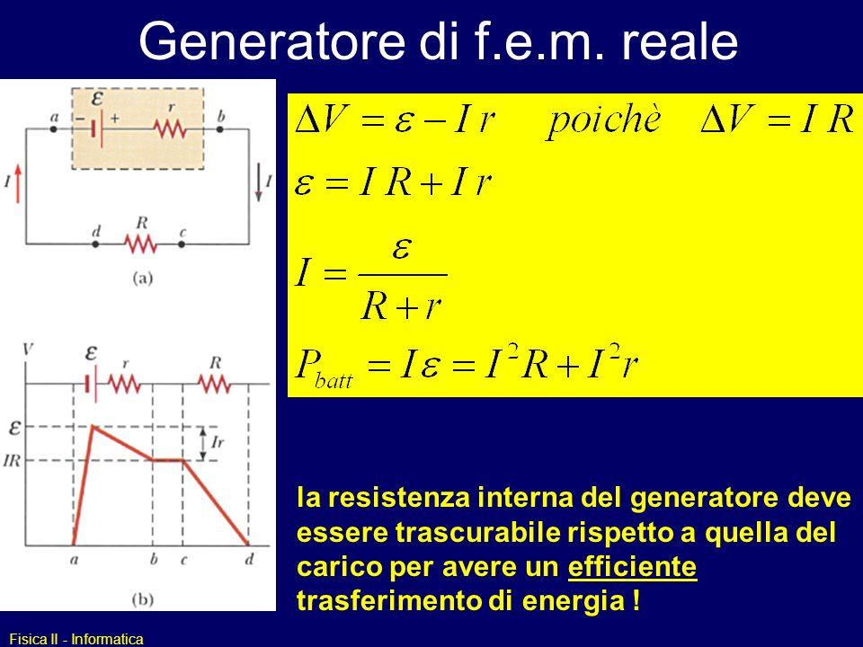 Fisica II - Informatica Generatore di f.e.m. reale la resistenza interna del generatore deve essere trascurabile rispetto a quella del carico per aver