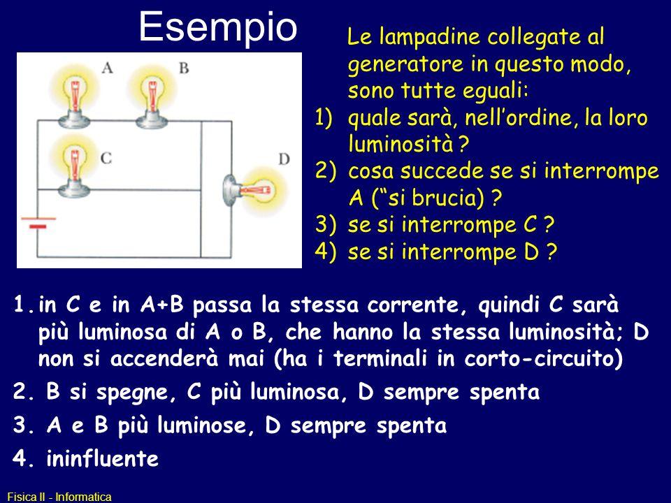 Fisica II - Informatica Esempio Le lampadine collegate al generatore in questo modo, sono tutte eguali: 1)quale sarà, nellordine, la loro luminosità ?