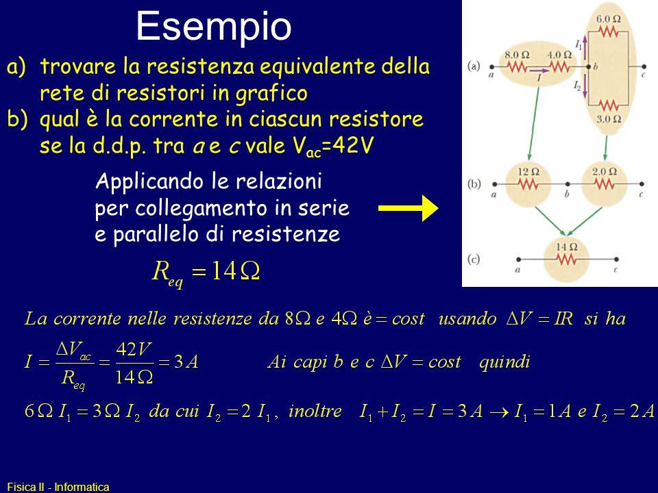 Fisica II - Informatica Esempio a)trovare la resistenza equivalente della rete di resistori in grafico b)qual è la corrente in ciascun resistore se la