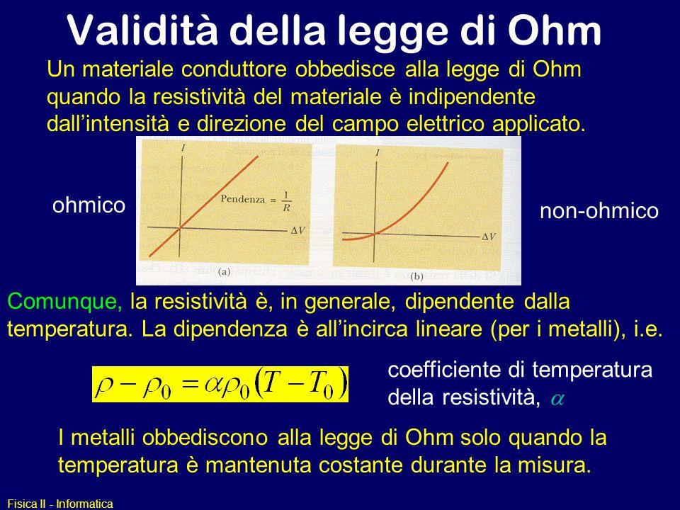 Fisica II - Informatica Validità della legge di Ohm Un materiale conduttore obbedisce alla legge di Ohm quando la resistività del materiale è indipend