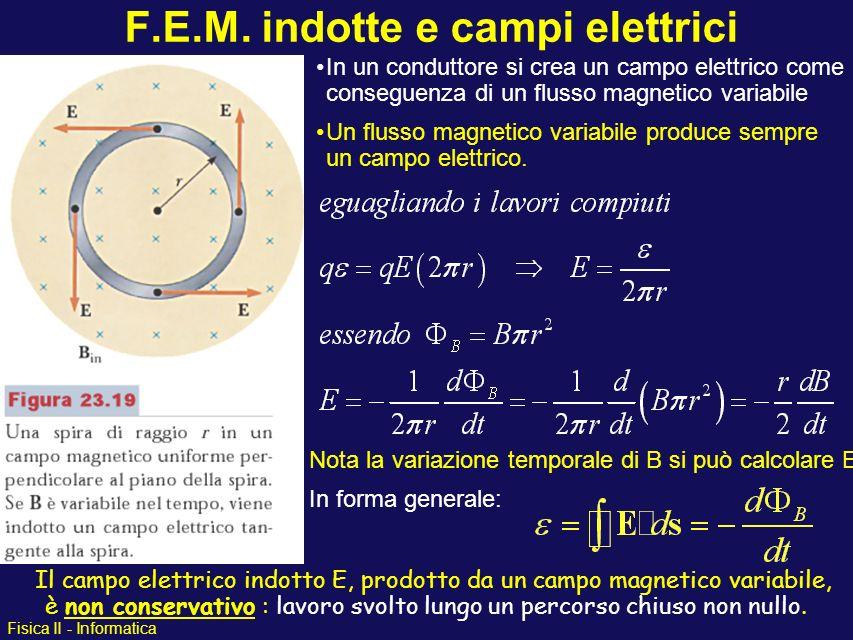 Fisica II - Informatica F.E.M. indotte e campi elettrici In un conduttore si crea un campo elettrico come conseguenza di un flusso magnetico variabile