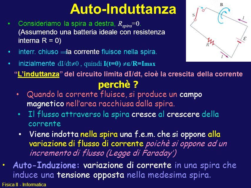 Fisica II - Informatica Auto-Induttanza Auto-Induzione: variazione di corrente in una spira che induce una tensione opposta nella medesima spira. Quan