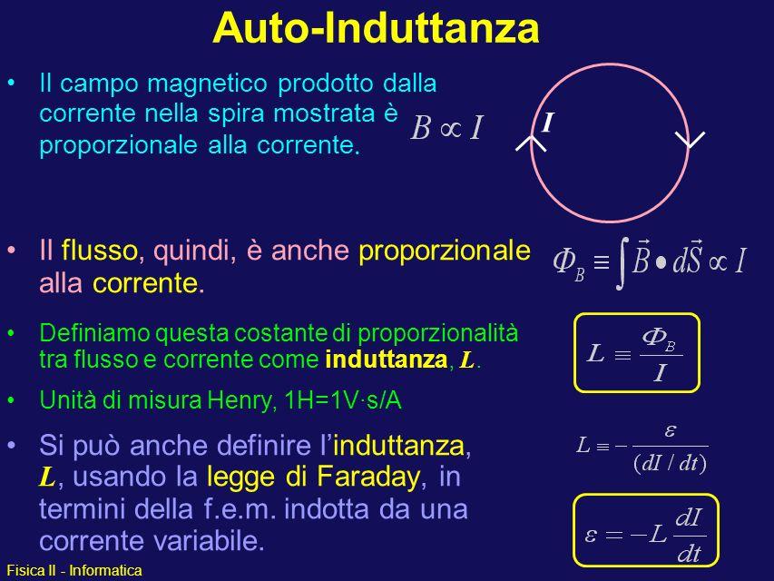 Fisica II - Informatica Si può anche definire linduttanza, L, usando la legge di Faraday, in termini della f.e.m. indotta da una corrente variabile. I