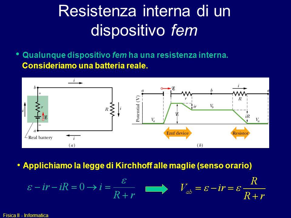 Fisica II - Informatica Esempio 3 I1I1 I3I3 I2I2 R2R2 C R1R1 Maglia 1 Maglia 2 Nodo: Maglia 1: Maglia 2 : Eliminare I 1 in M 1 e M 2 usando lequazione al nodo : Maglia 1: Maglia 2: eliminare I 2 eqn.