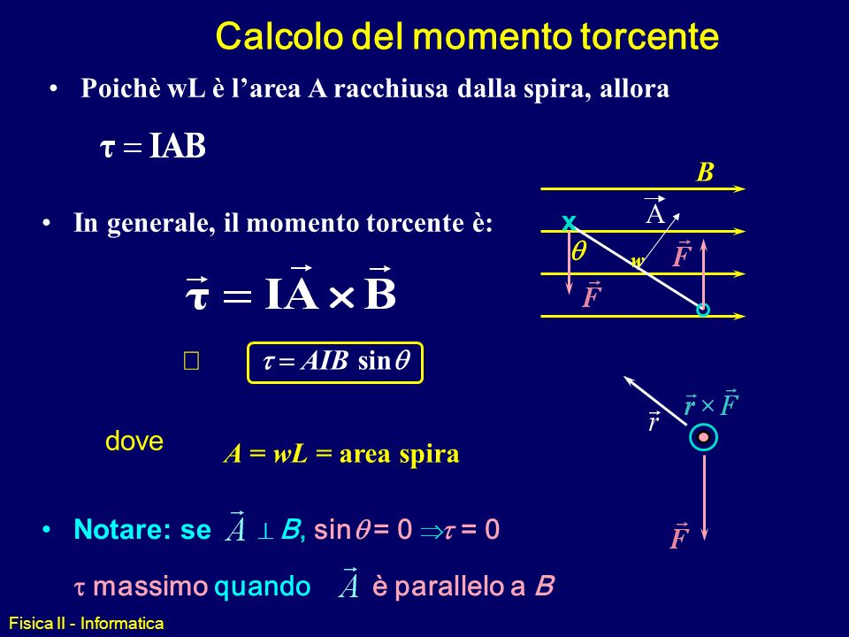 Fisica II - Informatica Supponiamo che la bobina abbia larghezza w (il lato che si vede) e lunghezza L (verso linterno dello schermo). Il momento torc