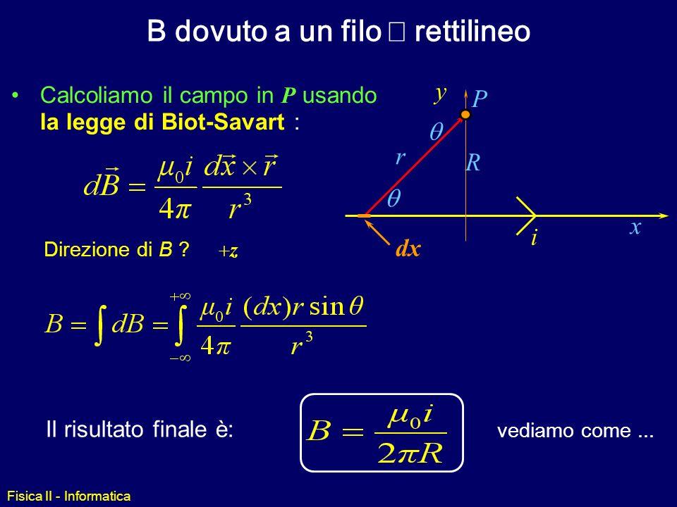 Fisica II - Informatica Legge di Biot-Savart i Il campo magnetico è distribuito intorno al filo X dB ds r permeabilità magnetica r dB Per calcolare il