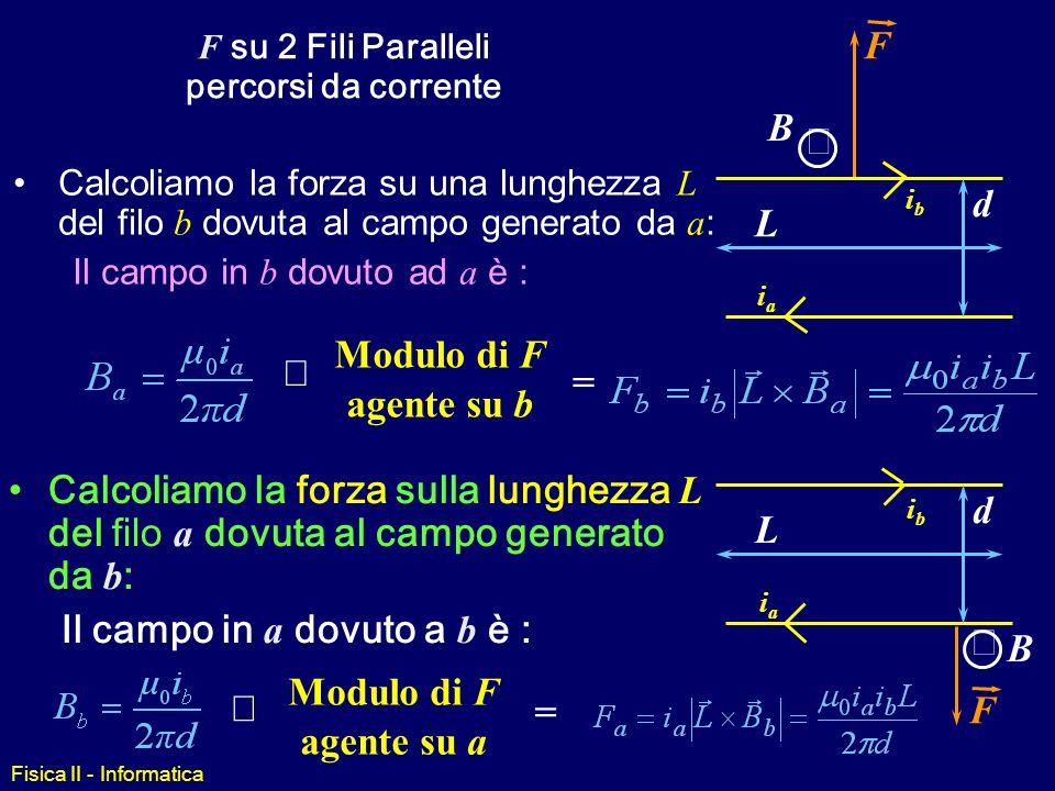 Fisica II - Informatica Domanda Come facciamo a verificare il risultato precedente ? Ci aspettiamo che B generato dal filo sia i/R. Misuriamo la FORZA