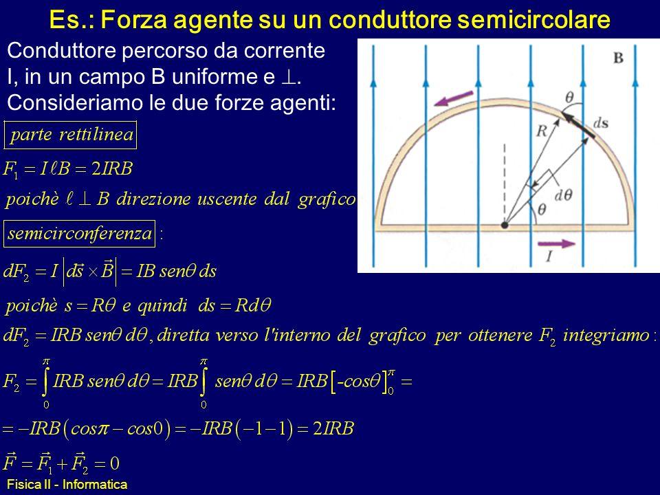 Fisica II - Informatica Forza Magnetica su un conduttore Se il filo è una spira chiusa e B è uniforme allora: La forza magnetica netta agente su una s