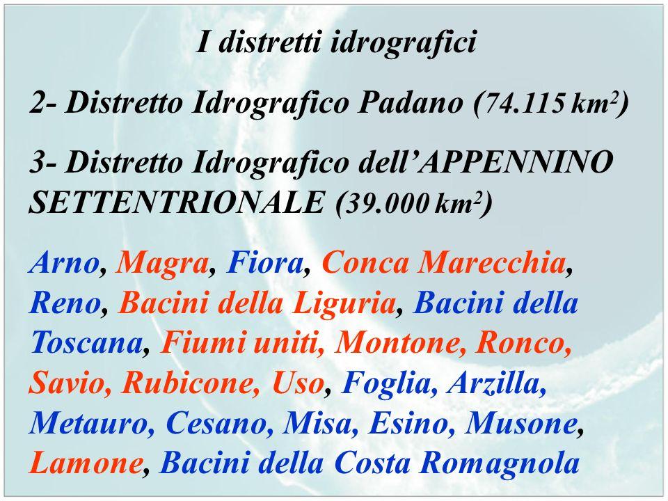 I distretti idrografici 2- Distretto Idrografico Padano ( 74.115 km 2 ) 3- Distretto Idrografico dellAPPENNINO SETTENTRIONALE ( 39.000 km 2 ) Arno, Ma