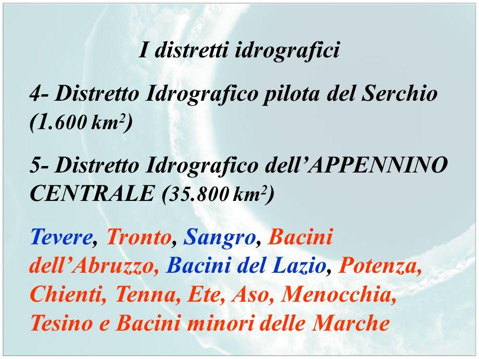 I distretti idrografici 4- Distretto Idrografico pilota del Serchio (1.600 km 2 ) 5- Distretto Idrografico dellAPPENNINO CENTRALE ( 35.800 km 2 ) Teve