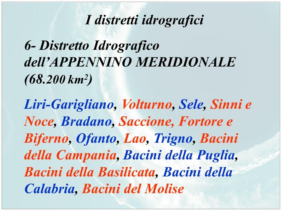 I distretti idrografici 6- Distretto Idrografico dellAPPENNINO MERIDIONALE (68.200 km 2 ) Liri-Garigliano, Volturno, Sele, Sinni e Noce, Bradano, Sacc