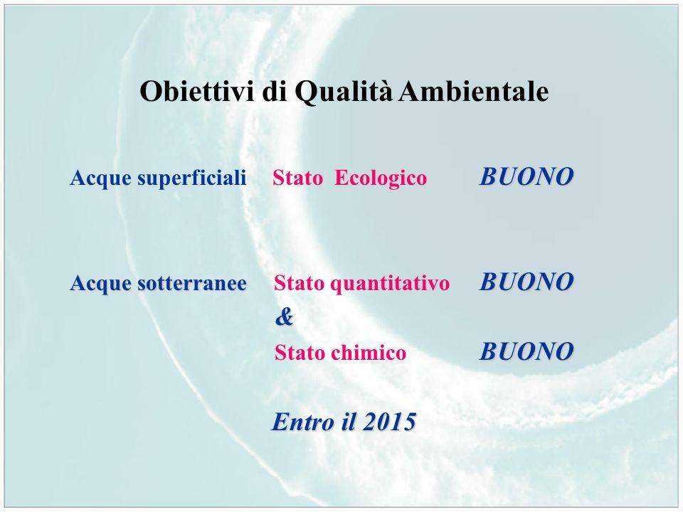 Obiettivi di Qualità Ambientale BUONO Acque superficiali Stato Ecologico BUONO Acque sotterranee BUONO Acque sotterranee Stato quantitativo BUONO& BUO